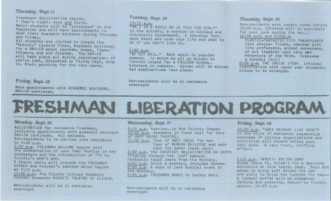1973 Orientation pamphlet Side one