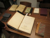 A sample of John Strachan's personal library; All photos courtesy of Stephen Hong, U of T Libraries, Information Technology Services – Network & PC Services