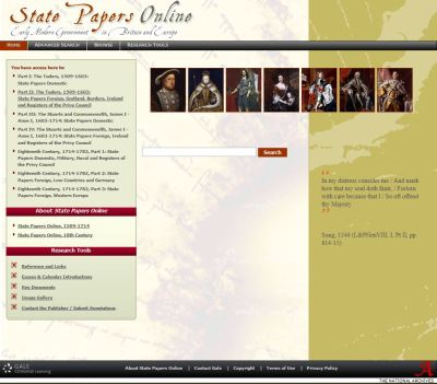 screenshot of State Papers Online homepage