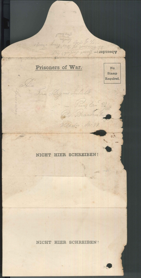 Image shows side 1 of letter; letter has caption Prisoners of War on top