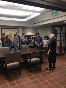 Trinity College's Rolph Bell Archivist, Sylvia Lassam speaks to students.