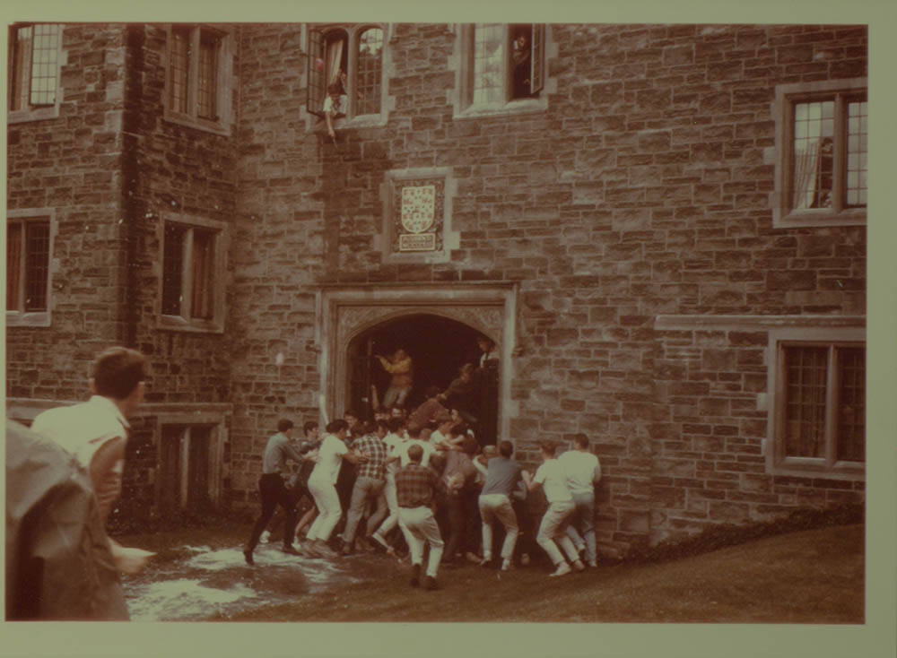 Depiction of a Trinity College Cake fight from archival collection